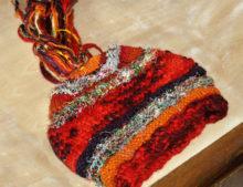 W 108 Silk Wool mix long tassel top beanie