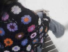 W072 Crochet Poncho Black