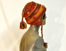 W 032 Wool Crazy Flower Beanie Plait Ears and Top Colours