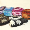 W 033 Wool Crocheted Flower Beanie simple short lined
