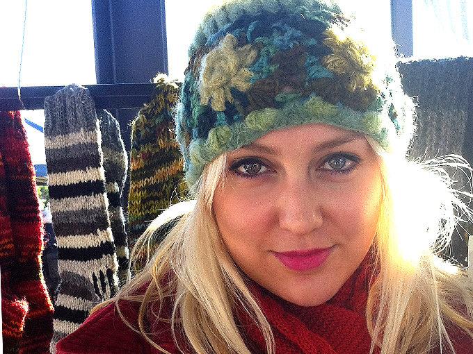 W 034 Crochet Flower Mohair mix beanie