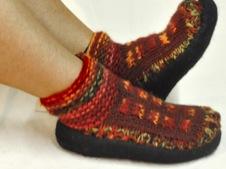 W 042 Felt Soled Wool lined Houseshoes on feet