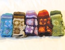 W 052 Handwarmers wool knitted crocheted flowers